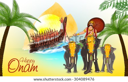 Illustration of a snake boat with participant oarsmen and beautifully decorated elephants with umbrella on occasion of South Indian festival, Happy Onam celebration. - stock vector