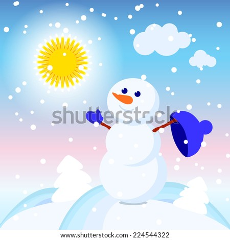 illustration of a snowman in a winter shiny day - stock vector