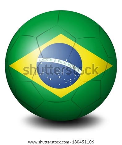 Illustration of a soccer ball with the flag of Brazil on a white background - stock vector