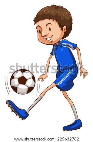 Illustration of a soccer player wearing a blue uniform on a white background  - stock vector