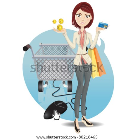 Illustration of a social networking girl make an online shopping - stock vector
