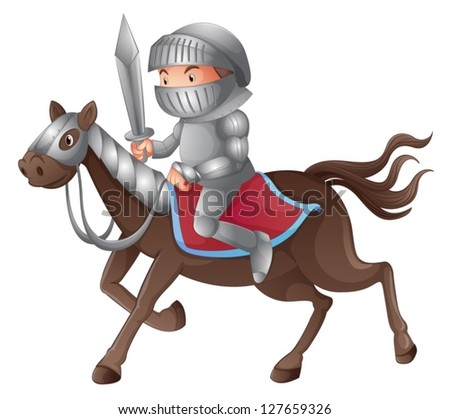 Illustration of a solder riding a horse on a white background - stock vector