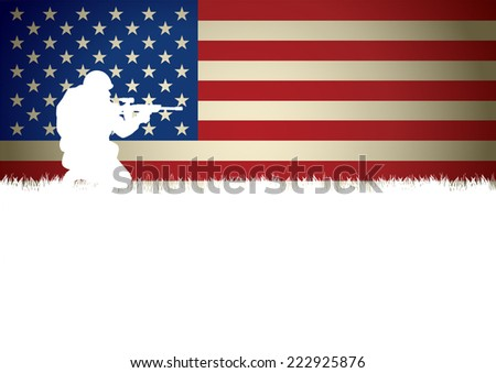 Illustration of a soldier kneel down aiming a weapon against American flag - stock vector