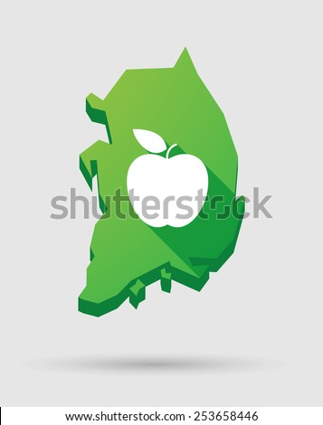 Illustration of a South Korea map icon with a fruit - stock vector