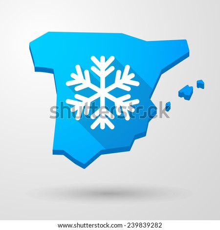 Illustration of a Spain map icon with a snow flake - stock vector
