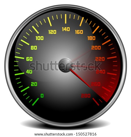illustration of a speedometer gauge - stock vector