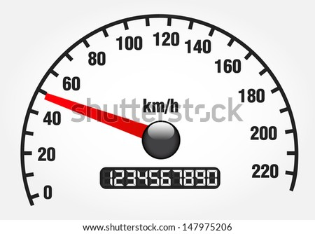 Illustration of a speedometer on white - stock vector