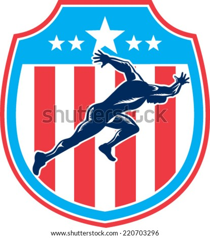 Illustration of a sprinter runner running viewed from side set inside shield crest with american stars and stripes in the background done in retro woodcut style. - stock vector