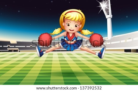 Illustration of a stadium with an energetic cheerdancer - stock vector