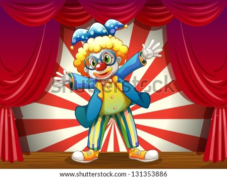 Illustration of a stage with a funny clown - stock vector