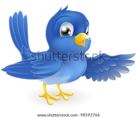Illustration of a standing bluebird pointing with its wing - stock vector