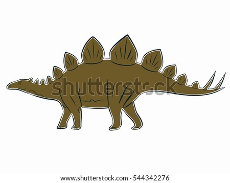 illustration of a stegosaurus . black and color drawing, white background