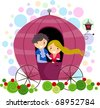 Illustration of a Stick Figure Couple in a Carriage - stock vector