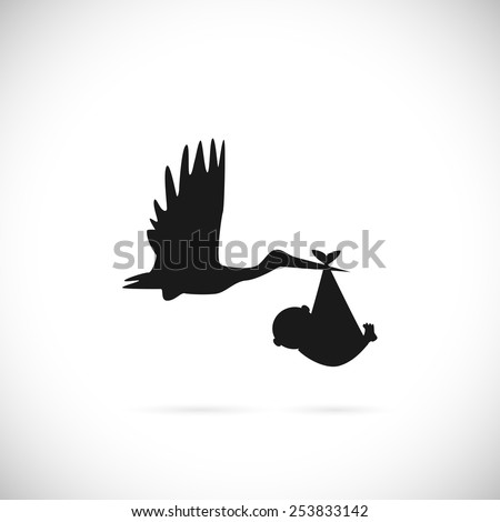 Illustration of a stork carrying a baby isolated on a white background. - stock vector