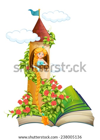 Illustration of a story book of a princess in a tower - stock vector