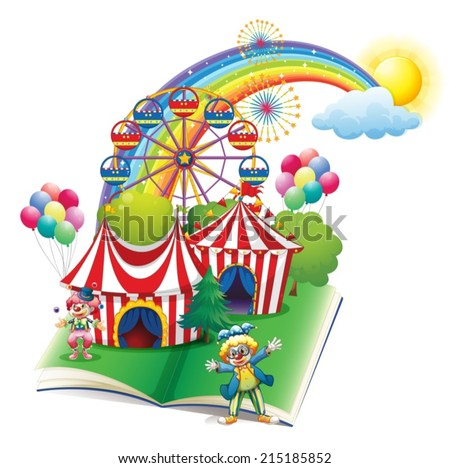 Illustration of a storybook about the carnival on a white background - stock vector