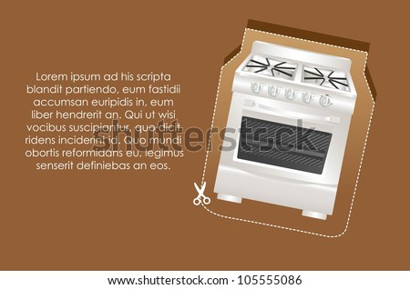 Illustration of a stove label, on brown background, vector illustration