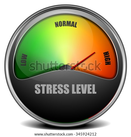 illustration of a Stress Level Meter gauge, eps 10 vector - stock vector