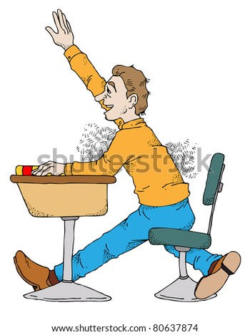 Illustration of a student raising his hand in class.