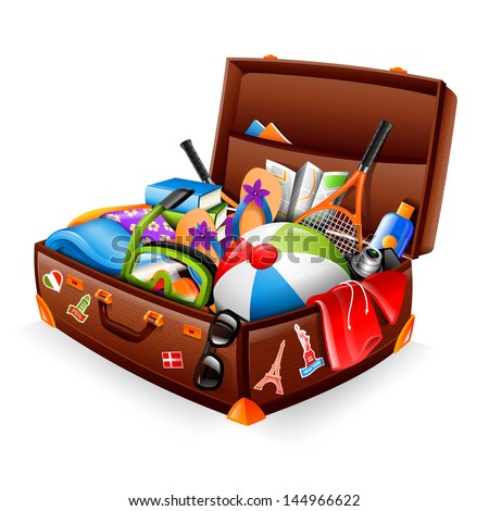 Illustration of a stuffed suitcase - ready for vacation - stock vector