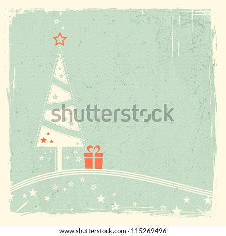Illustration of a stylized Christmas tree with present on top of wavy lines with stars on pale green textured grunge background. Space for your text. - stock vector