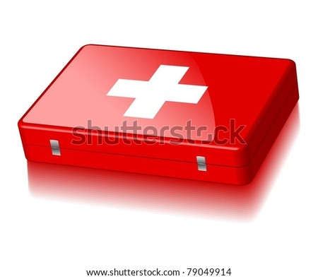 Illustration of a suitcase First Aid isolated on a white background. Vector.