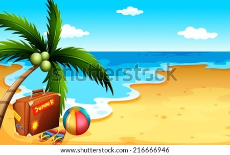 Illustration of a summer at the beach