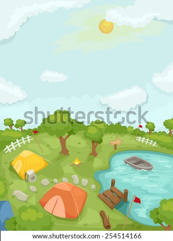 Illustration of a Summer Camp Highlighted by Tents and Boats - stock vector