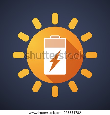 Illustration of a sun icon with a battery - stock vector