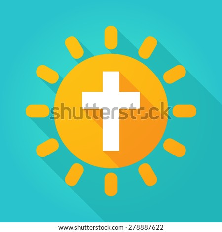 Illustration of a sun icon with a cross - stock vector