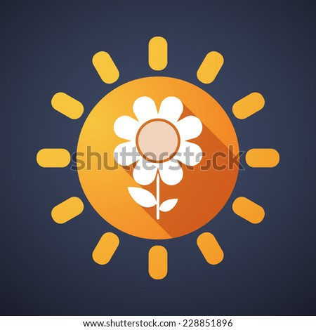 Illustration of a sun icon with a flower