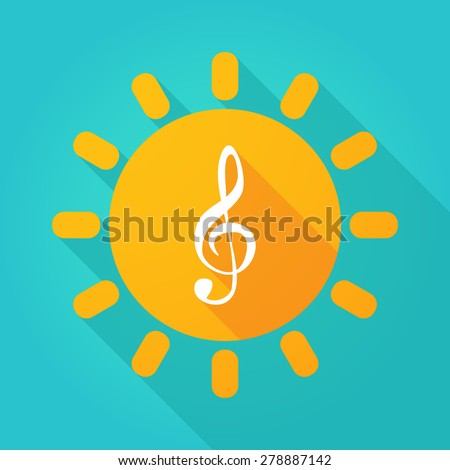 Illustration of a sun icon with a g clef - stock vector