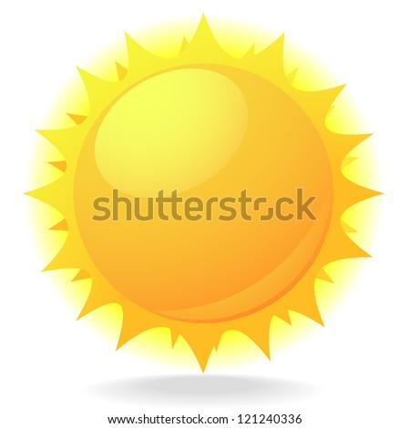 illustration of a sun with flares and glow - stock vector