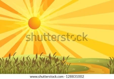 Illustration of a sunset scenery at the hills - stock vector