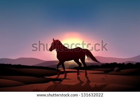 Illustration of a sunset with a horse - stock vector