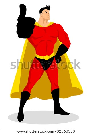 Illustration of a superhero doing thumbs up - stock vector