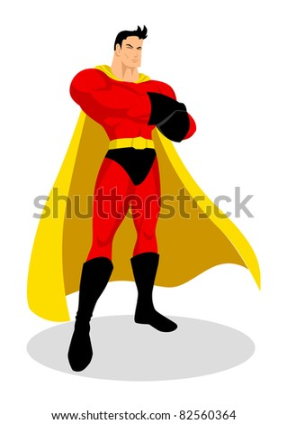 Illustration of a superhero in gallant pose - stock vector