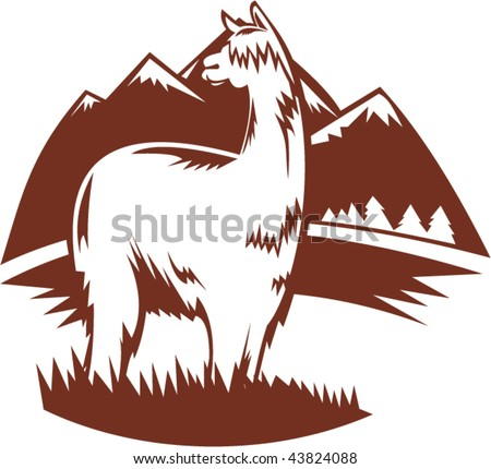 illustration of  a suri alpaca with mountains in the background - stock vector