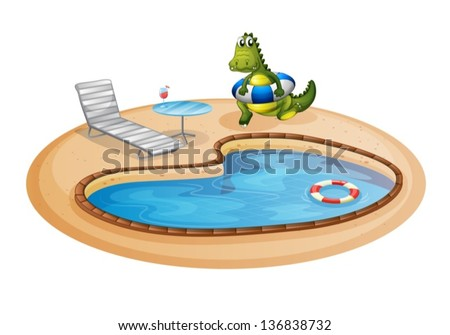 Illustration of a swimming pool with a crocodile inside a buoy on a white background - stock vector