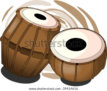 Illustration of a tabala, an Indian music instrument with music notes