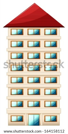Illustration of a tall building on a white background - stock vector
