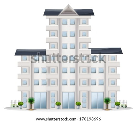 Illustration of a tall establishment on a white background - stock vector