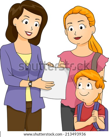 Illustration of a Teacher Showing Her Student's Progress To His Mom - stock vector