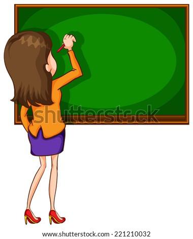 Illustration of a teacher writing on a blackboard - stock vector