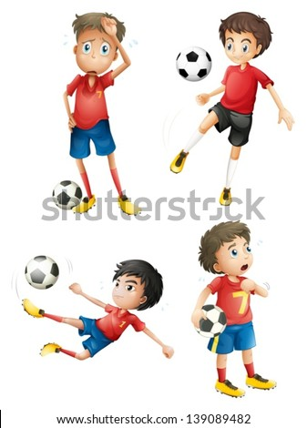 Illustration of a team of soccer players on a white background - stock vector