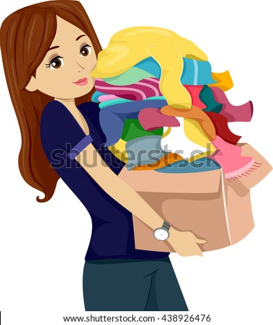 Illustration of a Teenage Girl Carrying a Donation Box Full of Clothes