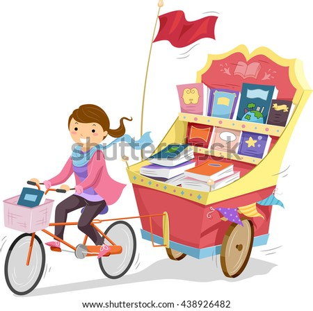 Illustration of a Teenage Girl Driving a Cart Full of Books - stock vector