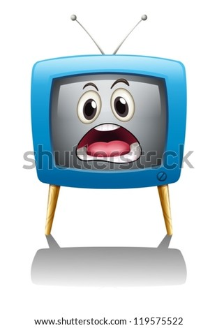 illustration of a television with face on a white background - stock vector