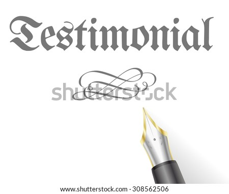 illustration of a Testament Letter with fountain pen - stock vector