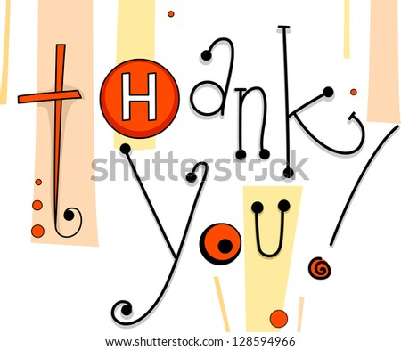 Illustration of a Thank You Card with Button Designs - stock vector